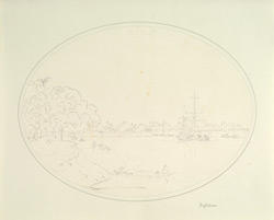 River scene with European bungalows and pinnace, Bhagalpur (Bihar). c. 1790